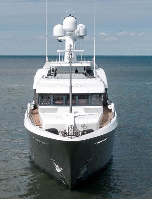 looking down the bow of feadship motor yacht W during sea trials