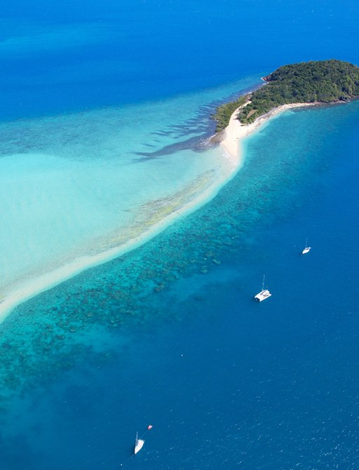 aerial view of the Whitsunday Islands in Australia