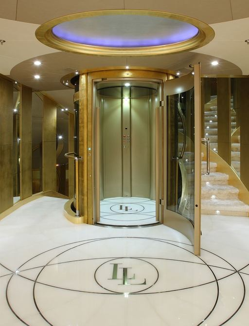 gold-plated elevator on charter yacht 'Lady Luck'