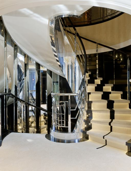 Glass staircase on superyacht Phoenix 2