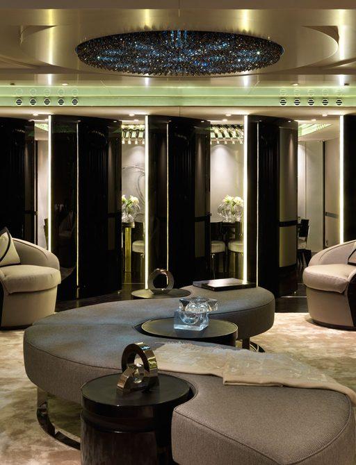 the sleek and designer salon of superyacht sealyon interior