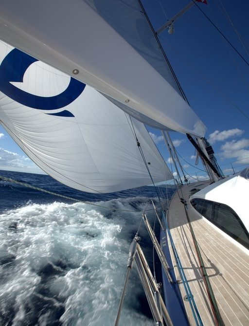 PTARMIGAN sails and side deck as she gets underway on charter