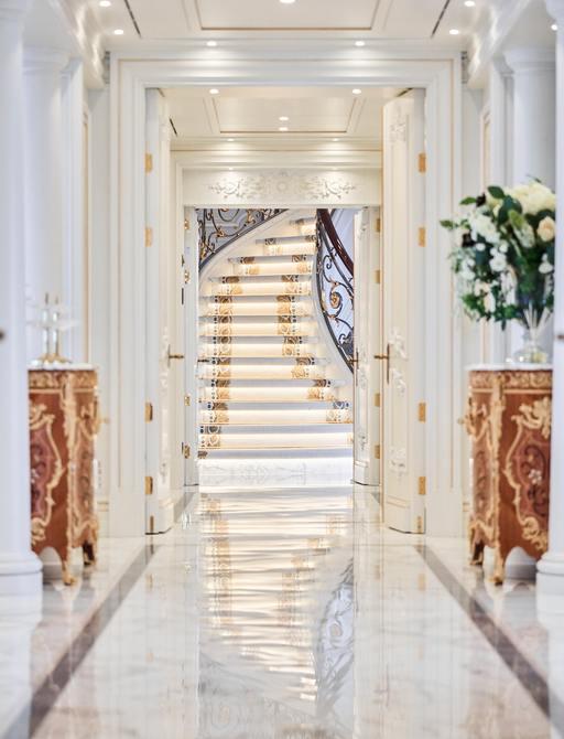 Superyacht TIS main staircase and corridor