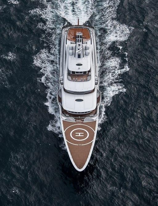 Aerial image of luxury yacht TIS