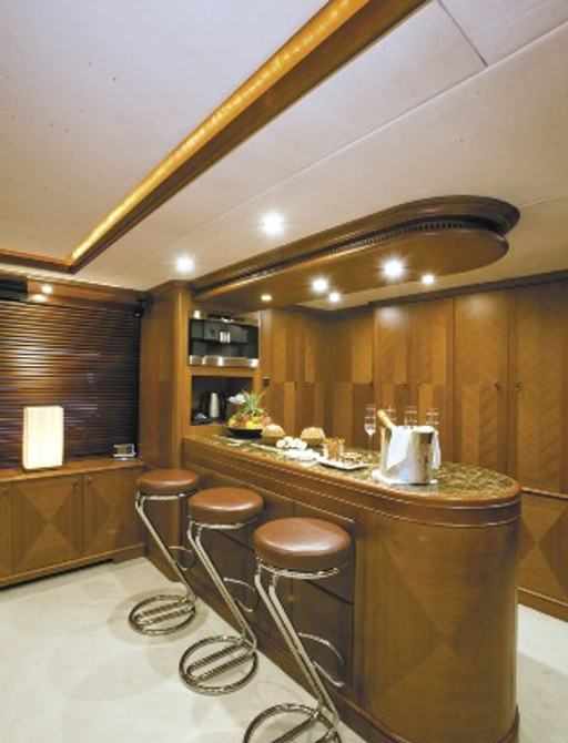 champage is served on bar on board superyacht SEABLUE'Z