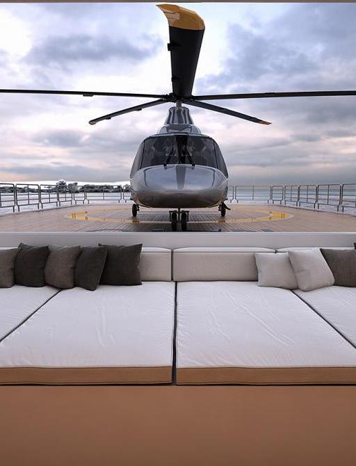 expedition yacht planet nine helicopter on landing pad on aft deck