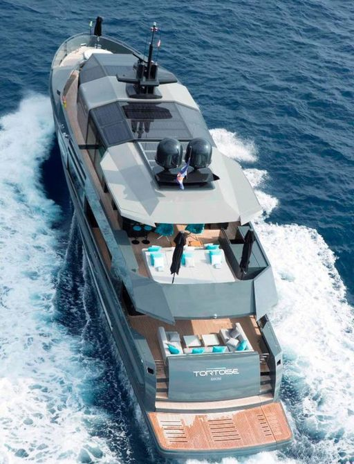 An ariel view of the motor yacht TORTOISE