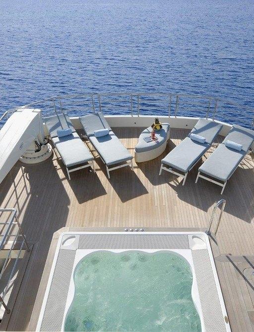 charter yacht SERENITAS sundeck Jacuzzi (attending pop-up montenegro superyacht show)