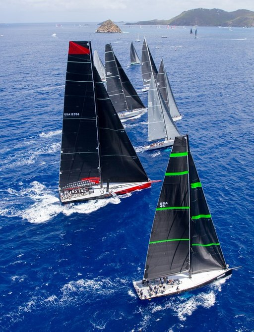 sailing yachts with black sails competing in Les Voiles de St. Barth 2015