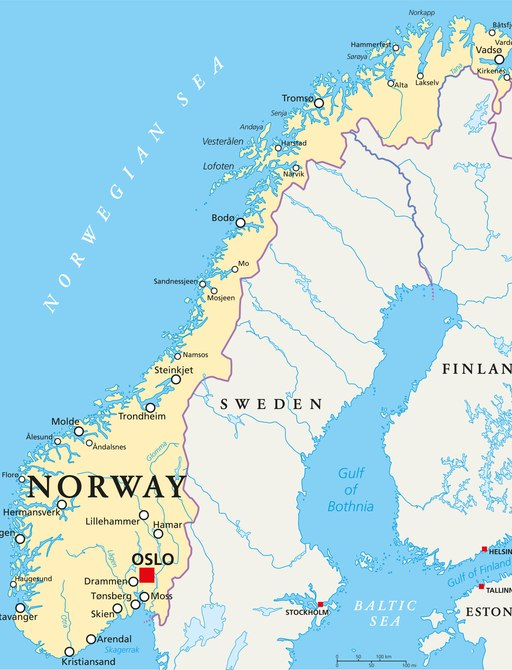 map of norway with popular charter destinations