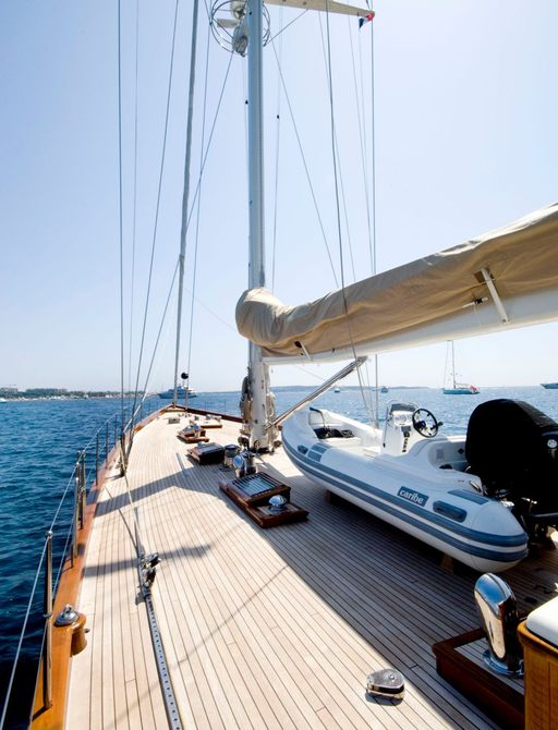 foredeck of sailing yacht ANNAGINE on a charter in the Mediterranean
