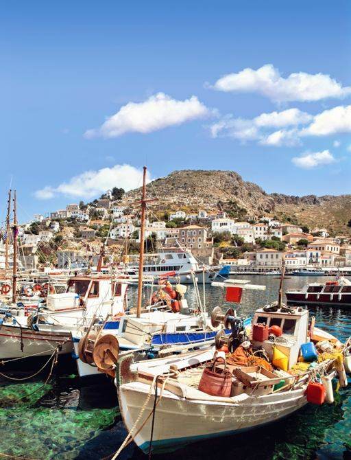 The charming port of Hydra in Greece