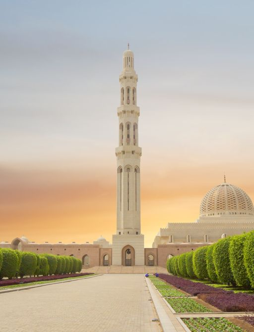 ornate tower and domed buildings in oman