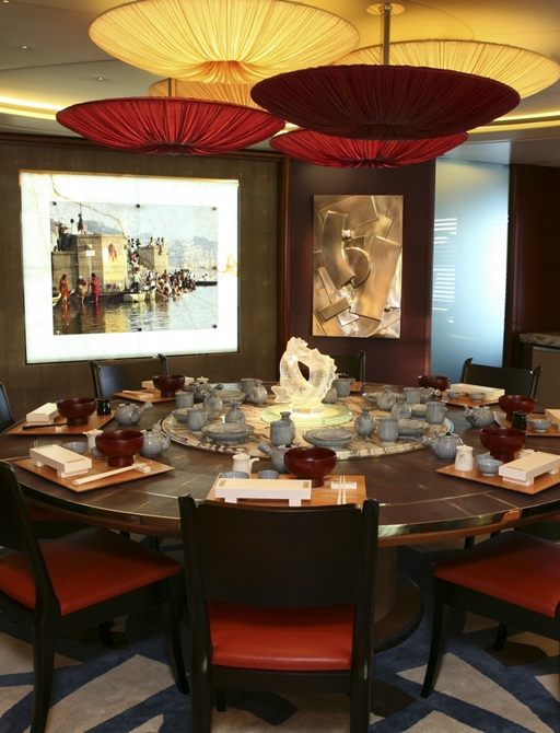 luxury motor yacht PEGASUS dining room is orientally styled and features artworks