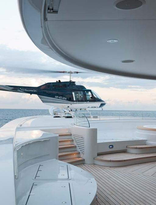 Helicopter landing pad on board superyacht