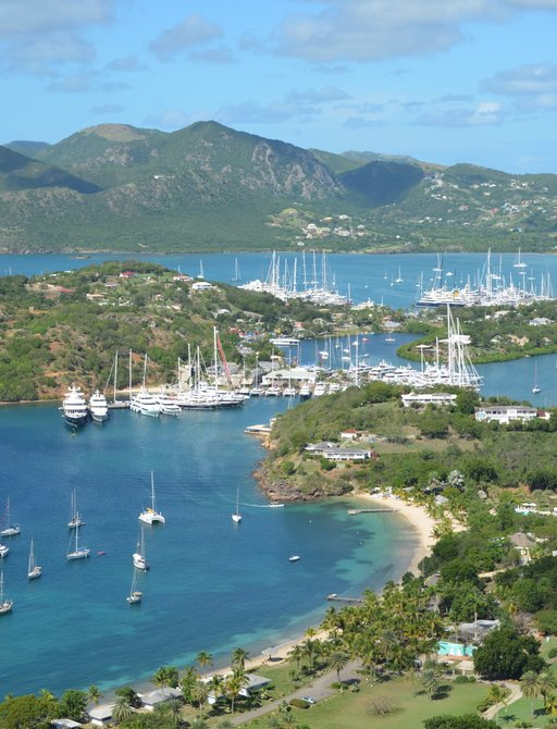 Charter yachts line up in English and Falmouth Harbours for the Antigua Charter Yacht Show