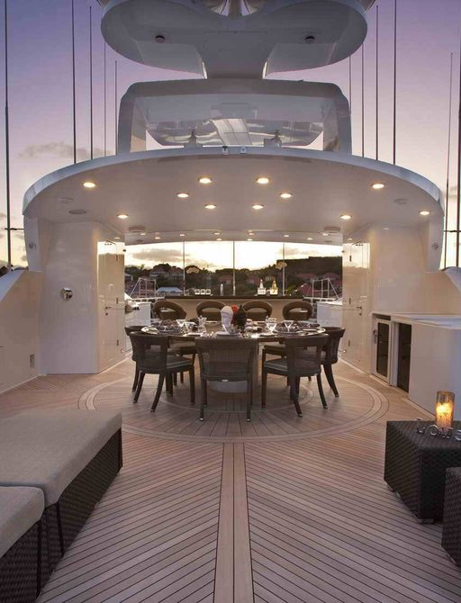 Superyacht ROCKSTAR;s sundeck before the damage