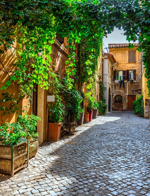 a sunny walkway in a charming coastal town in italy that is overflowing with greenery