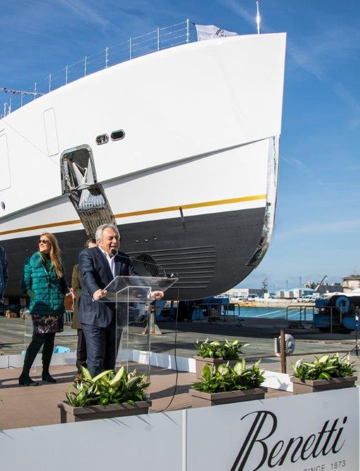 a spokesperson for benetti giving a speach in livoro Italy for the launch of  superyacht alkhor