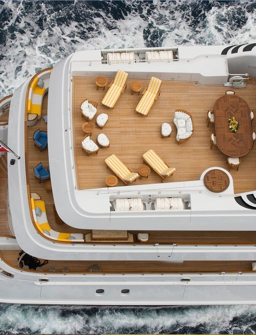 aerial view of luxury yacht OASIS's tri-deck