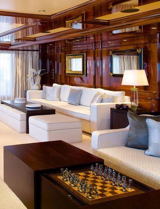 The main salon of motor yacht O'MEGA