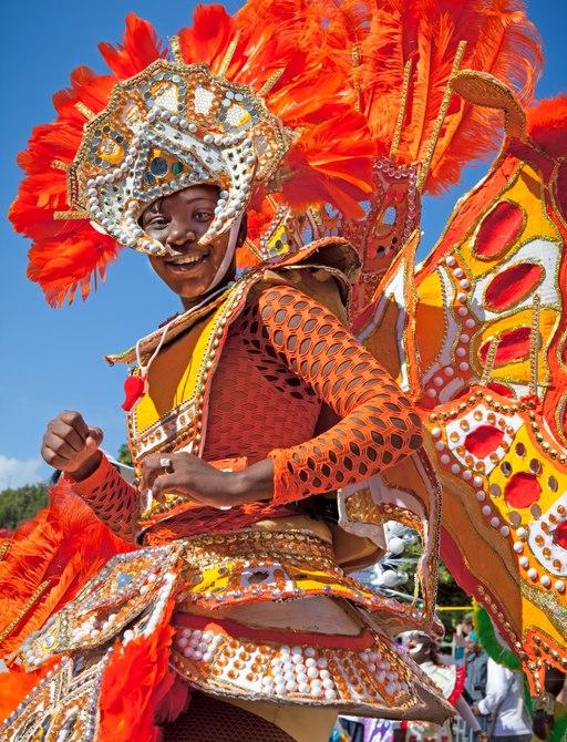 Orange Costume of female dancer at junkanoo carnival in the Bahamas