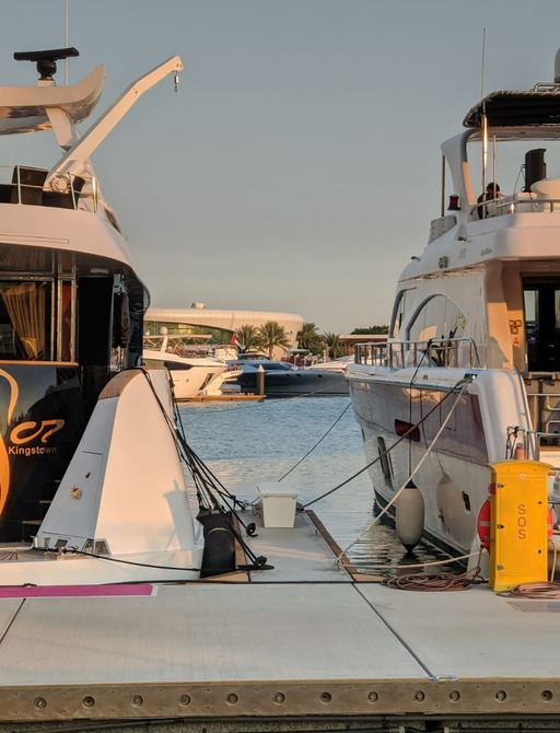 the stren of two superyachts at yas marina abu dhabi grand prix 2019 at sunset after the practise races