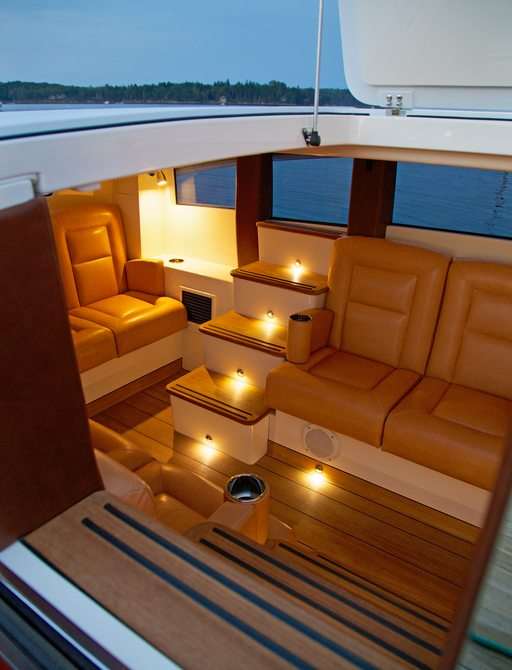 The inside of a luxury limousine tender