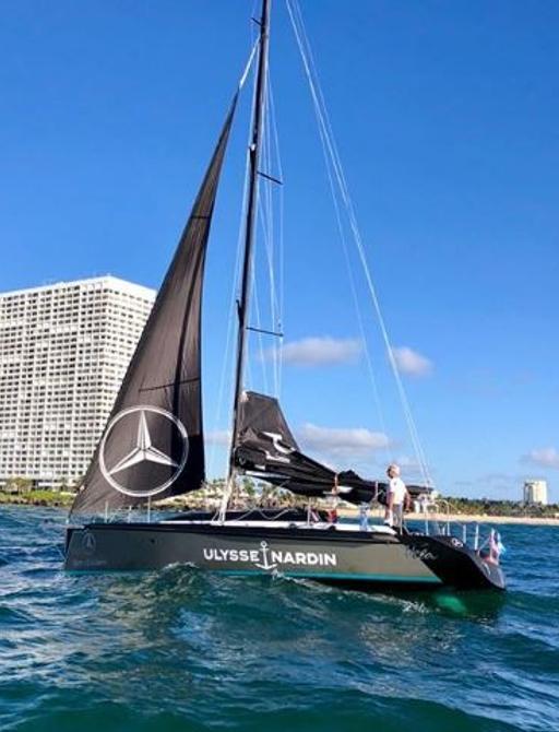 Sailing yacht and Dan Lenard arriving in For Lauderdale