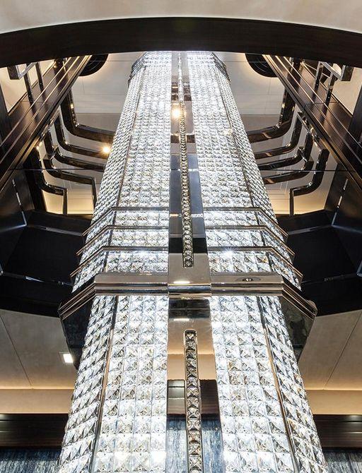 Crystal chandelier on superyacht Lady Li