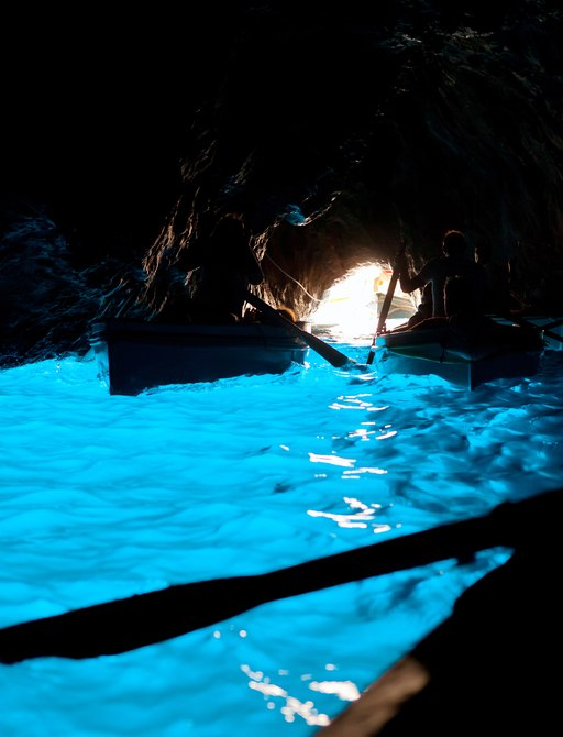 Boats on the water in Capri's Blue Grotto