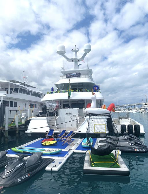 at last at bahamas charter show with toys off the swim platform