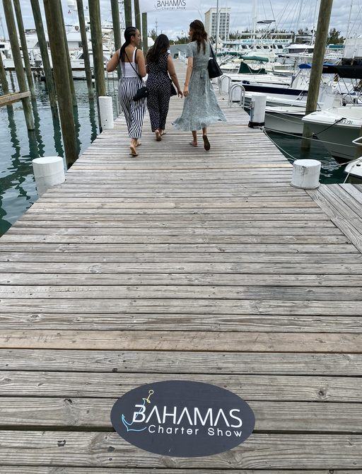 editor katia damborsky on the docks at the bahamas charter show