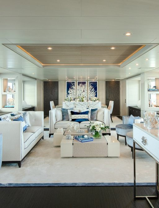 interior details on superyacht spirit with bar and sofa seating