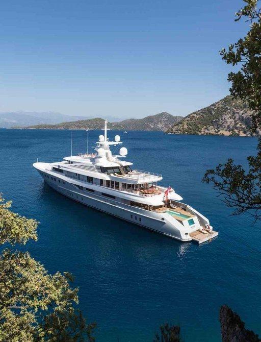 superyacht AXIOMA anchored on a luxury yacht charter in the Caribbean