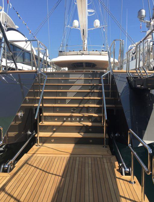 swim platform aboard sailing yacht SEVEN at the Monaco Yacht Show 2017