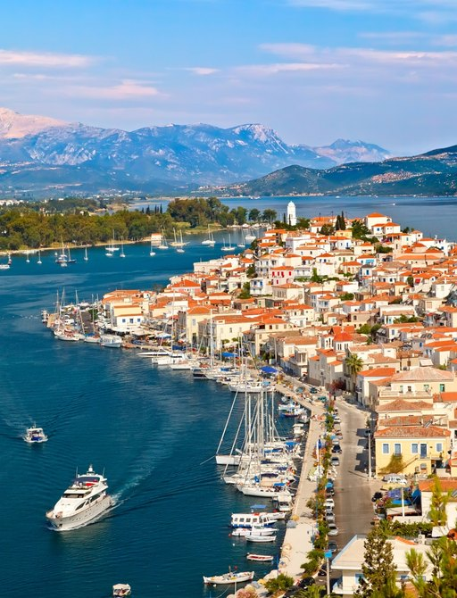 View of luxury charter yacht in Poros, Greece