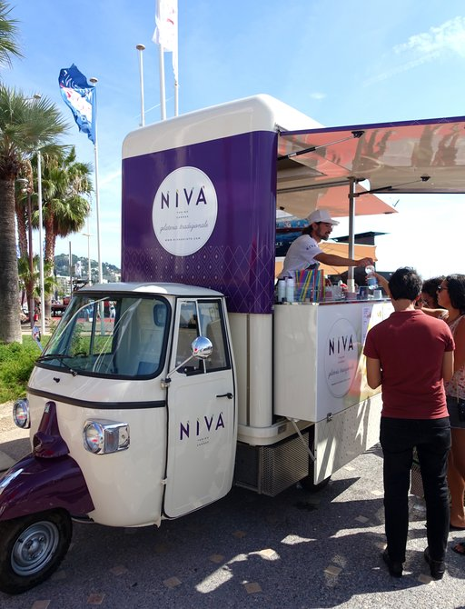 Ice cream vendor at cannes yachting festival 2019