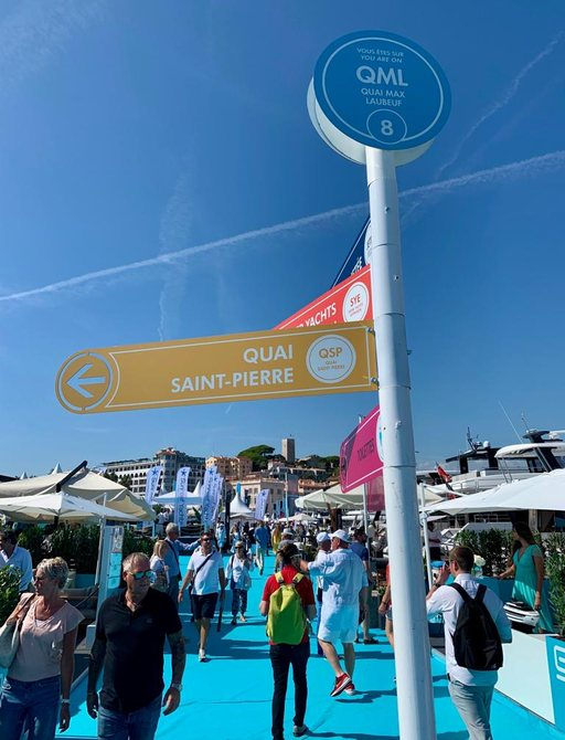 Directions to different areas at Cannes Yachting Festival 2019