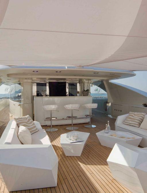 bar and lounge area on sundeck of charter yacht light holic