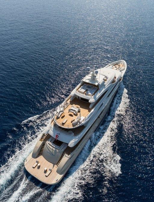 Overhead shot of motor yacht O'Pari 3 cruising on charter