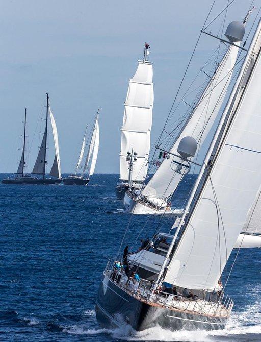 sailing yachts in action at the Perini Navi Cup in Sardinia