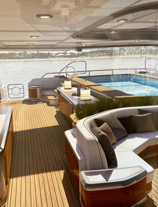 cosmos yacht pool with waterfall feature