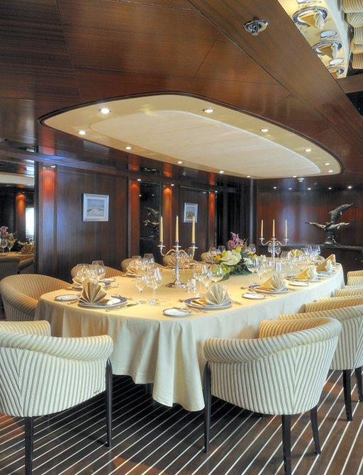 Dining salon on superyacht Lauren L