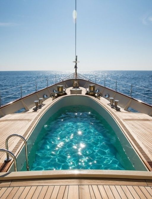 swimming pool with current aboard foredeck of luxury yacht NERO