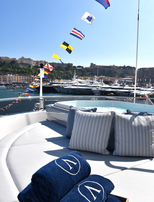 sundeck of a superyacht berthed in Port Hercules for the Monaco Grand Prix