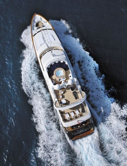aerial view of Benetti luxury yacht SEABLUE'Z while cruising in the Mediterranean