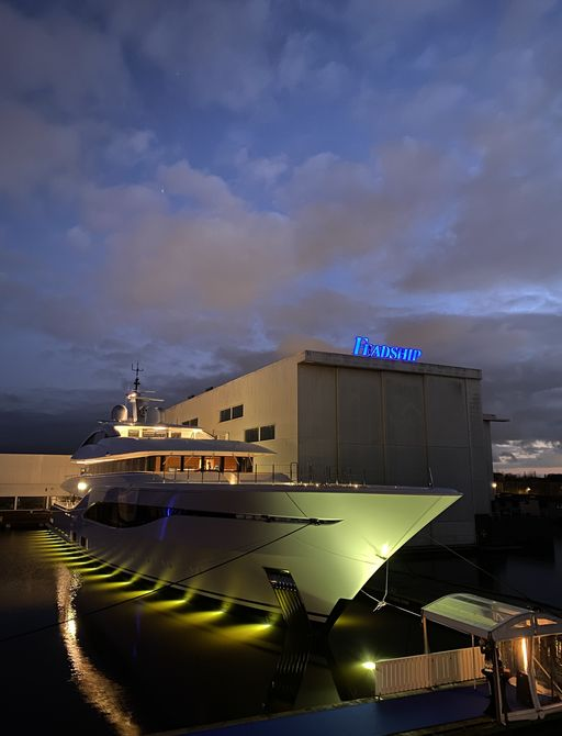 arrow yacht by night with lights