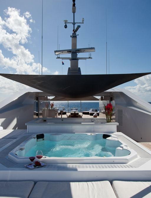 motor yacht IDOL's shaded Jacuzzi
