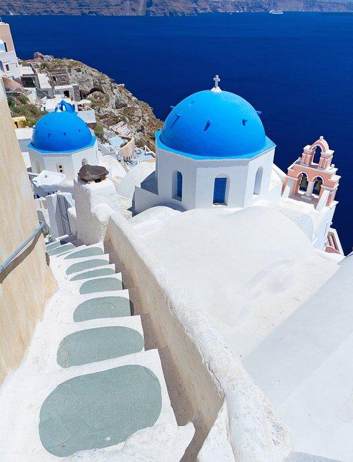 Hilltop white stucco village in Santorini, Greece